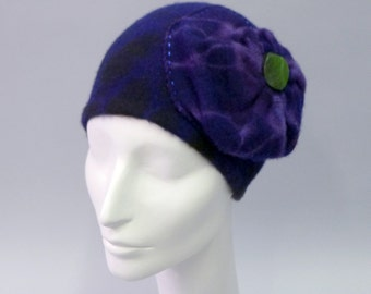 Rose Cloche in hand dyed navy and purple Eco Cashmere