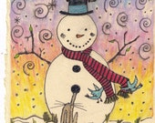Cute Snowman Card Whimsical Watercolor Holiday Card with Woodland Creatures Print made from Original art with raccoon rabbit and bluebirds