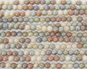 4mm Opaque Earth Tones Lumi Luster Color Mix Czech Glass Round Beads - Qty 100 (BS568)