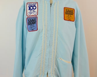 Vintage Nylon CYCLING Jacket SAAGBRAW Milwaukee Sentinel patches 1980's medium