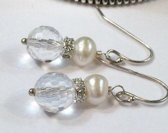 Pearl Bridal Earrings Petite Pearl Earring Wire Wrap Clear Crystal CZ Rondelle Minimalist Earring Evening Earring, Wedding Jewelry