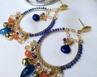 SALE Large Gold Hoop Earring Wire Wrap 14kt Gold Fill Luxury Gemstone Chandelier Earring Colorful Statement Blue Lapis Orange Boho Chic
