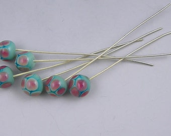 6 glass headpins w/sterling silver wires done in a pink and green pattern handmade - Green Hive Headpins