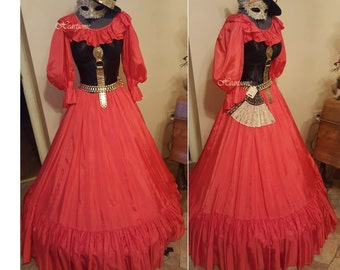 Masquerade dress steam punk gown coral  black corset gold accent full costume OOAK