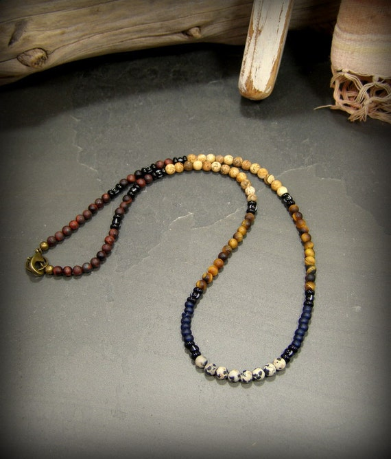 Mens boho long beaded with small beads necklace for men