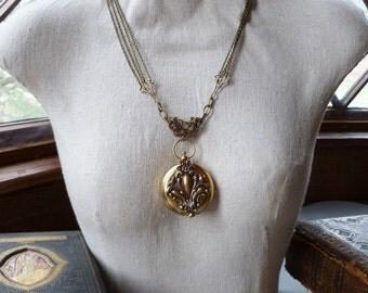 Brass Compass Necklace Fleur de Lis