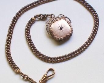Antique Locket Fob Watch Chain - Garnet, Locket, Victorian, Watch Chain, Fob