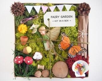 Fairy Garden Kit - Flower Fairy Figurine Garden Accessories - Fairy Supply - Fairy Garden Decor - DIY Fairy House - moss, furniture, items