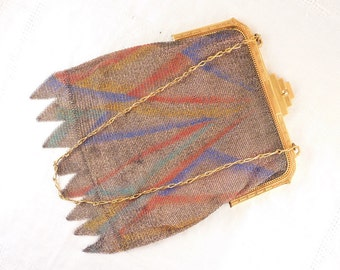 Vintage Whiting & Davis Colorful Painted Mesh Art Deco Gold Tone Purse Bag with Silk Liner and Pocket