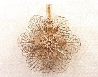 Vintage Sterling Filigree Three Dimensional Flower Pendant