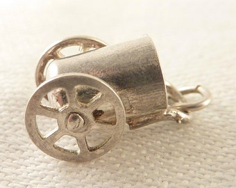 Antique Sterling Bucket Cart Moveable Charm