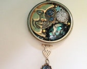 Moon and Stars Fly in Vintage Pocket Watch Steampunk Necklace