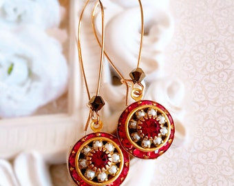 Red Dangle Earrings - Best Jewelry Gifts - Red Ruby Earrings - Crystal Cluster - AURORA Festive