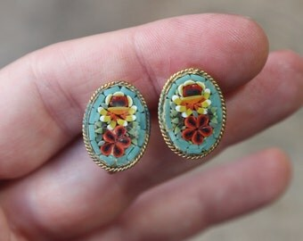 Italian Micro Mosaic EARRINGS / Vintage Costume Jewelry / Floral Screw Back Earrings