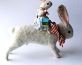 Original Animal Needle Felted Dear Bunnies With Tiny House