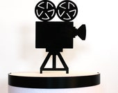 Movie Camera Cake Topper, laser cut, acrylic cake topper, movie wedding, hollywood wedding, art deco wedding
