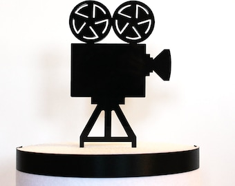 Movie Camera Cake Topper, movie wedding, hollywood wedding, acrylic cake topper, art deco wedding