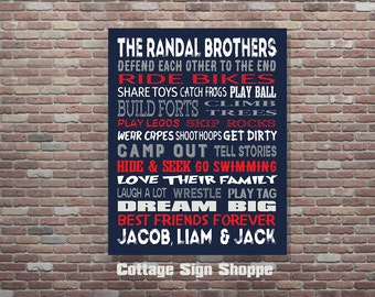 Brothers Wall Art, Personalized Brothers Sign, Brothers Room Decor, DIGITAL YOU PRINT, Custom Colors, Personalized Brothers Art, Boys Art