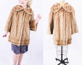 1970s coat vintage 70s tan Lilli Ann faux fur peter pan collar short coat