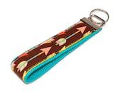 Arrow Keychain - Mint and Coral Feather Arrows Fabric Key Fob - Mint Webbing Wristlet