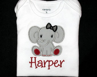Custom Personalized Applique GIRL ELEPHANT with Houndstooth Bow and Name Bodysuit or Shirt - Crimson Red, Gray, and Black