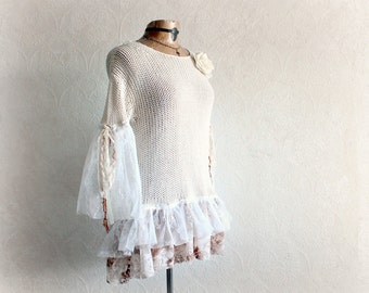 Romantic Clothing Cream Shabby Sweater Vintage Lace Top Boho Women's Tunic Hippie Chic UPcycled Clothes Rustic Ruffle Top Medium 'OPHELIA'