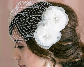 Birdcage Veil with Flower Fascinator, Bridal Veil and Bridal Comb, Bandeau Birdcage Veil, Blusher Bird Cage Veil With Chiffon Flowers