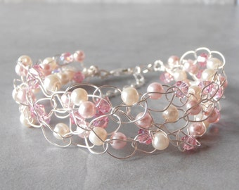 Wire Crochet Bracelet Pink Beaded Wire Bracelet Glass Pearl and Swarovski Crystal Pink and Ivory Bridesmaid Bracelet Wedding Jewelry