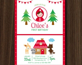Little Red Riding Hood Birthday Invitation, Red Riding Hood Invite, Little Red Riding Hood, Woodland Invitation