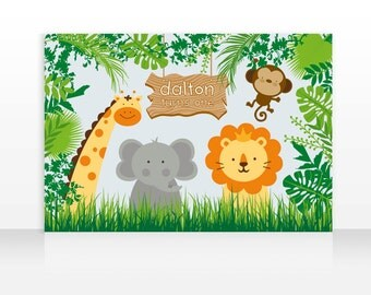 DIGITAL FILE Safari Jungle Animals Birthday Printable Banner Backdrop 60x40 inches, Safari Jungle Party Backdrop, Safari Poster