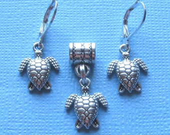Swimming Turtle Silver Plated Lever Back Earrings Pendant Set Jewelry Boho