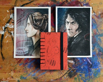Jane Eyre coptic sketchbook and postcards. A7 hand bound coptic book with hard cover. Red black journal for book lover