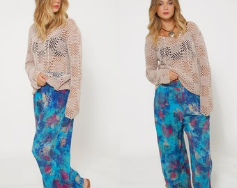 Vintage 80s PRINTED Pants Under the SEA Print Pants NOVELTY Fish Print Hipster Pants Tie Dye Relaxed Trouser