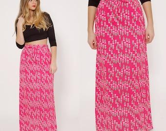Vintage 70s Pink FLORAL Skirt WRAP Maxi Skirt HAWAIIAN Wrap Skirt Bright Tulip Novelty Print Malia Honolulu Skirt