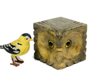 Vintage Marble Owl | Hand Carved Alabaster Stone Block | Wildlife Bookend | Yellow Green Eyes | Mid Century Home Decor | Desk Accessory