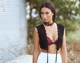 Lace necklace - Choker - Black or white lace