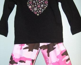 Pink Camo  Ruffle Pants