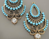 Turquoise Blue Boho Teardrop Gypsy Chandelier Earring Findings Long Teardrop Pendants in Antique Gold