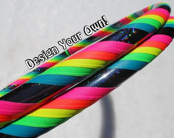 Design your OWN 'Mantra' Hoop! - Fully Customizable Travel Hula Hoop - UV Reactive // GLOWS in Blacklight