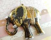 Elephant Pendant - Antique Brass - Hand Painted - Black - Dry Gulch 64880