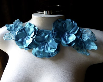 SALE Turquoise Flower Applique in Beaded Satin for Lyrical Dance, Costumes, Garments CA 714