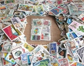 50 x world postage stamps packet | used postal stamps, random mixed modern + vintage for crafting, collage, upcycling, decoupage, collecting