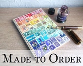 Recycled Rainbow Planner Notebook - Upcycled Postage Stamp Collage, Snail Mail Art - Penpal Philatelist Bohemian Gift, LGBT Rainbow Journal