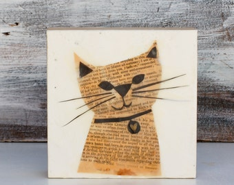 Happy Cat Original Encaustic Mixed Media Painting Vintage Paper Art