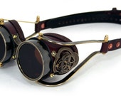 STEAMPUNK GOGGLES brown leather blackened brass CLOCKWORK special edition