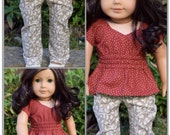 18 inch doll clothes, floral jeans, red polka dot top, modelled by American Girl