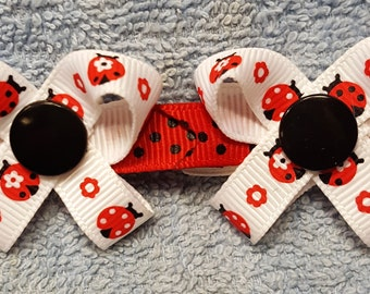 LadyBugs #2 Snap N Go Dog Hair Bows - Set of 2 or Custom Single