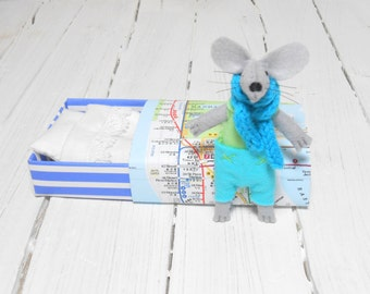 Baby shower gift pre teen gift felt stuffed animals pastel lime green light blue small mouse in matchbox manhattan metro map  miniature