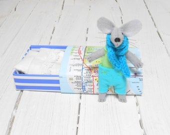 Baby shower gift pre teen Christmas gift tiny felt stuffed animals lime green pastel light blue small mouse in matchbox manhattan metro map