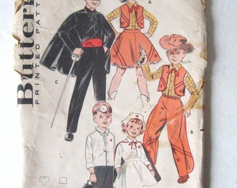 50s 60s Vintage, Cowboy, Cowgirl, Doctor, Nurse, Masked Rider w/ Cape Children's Costume Pattern Butterick 9094, Boy & Girl Chest 24 26""